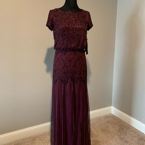 Adrianna Papell Short Sleeve Beaded Gown